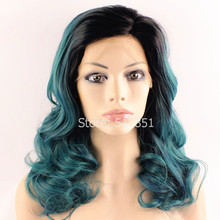 F2 Cheap Fashion Natural Ombre Wig Blue Medium Long Wavy Synthetic Lace Front Wig Glueless Natural Ombre Wig Blue