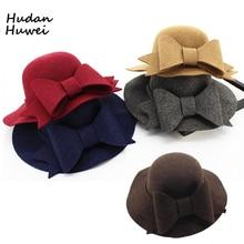Модные женские шерстяные войлочные шляпы-федоры с большим бантом с широкими полями Панама шляпа Трилби купольная шапка для дам девочек осень зима