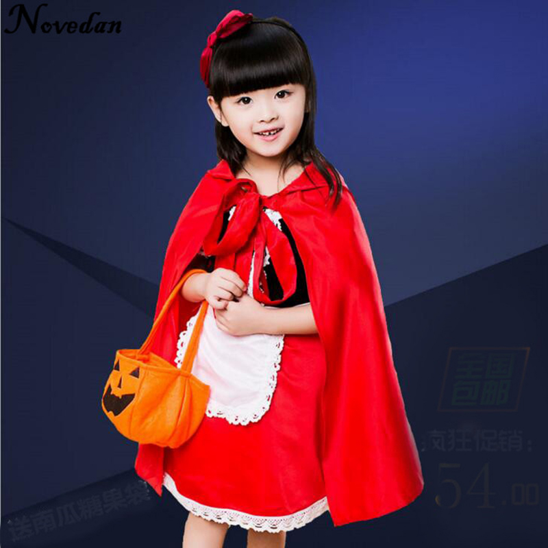 Little Red Riding Hood Costume For Girls Children Kids Fantasia Halloween Party Cosplay Fancy Dress+Cloak Cosplay Costume