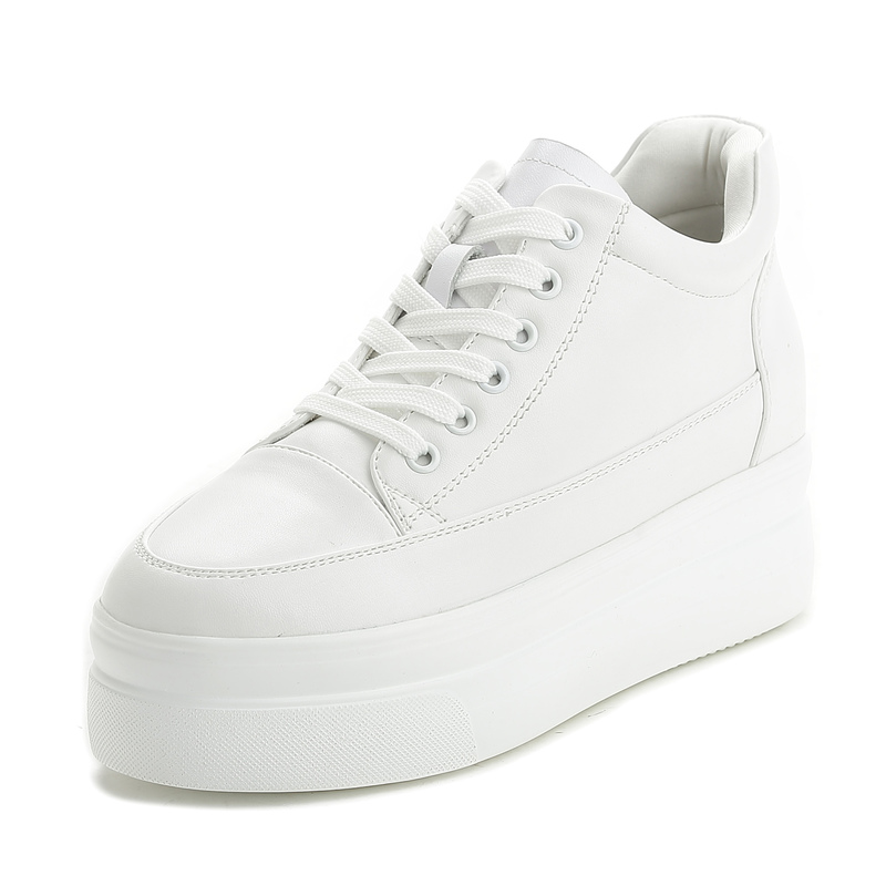 Genuine Leather White Sneakers Women Vulcanize Shoes Casual Shoes Spring Tenis Feminino Thick Wedge Platform Sneakers