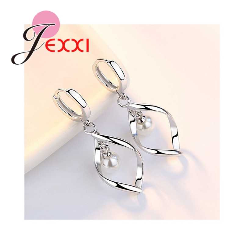 Elegant Women Female Jewelry Geometric Arc 925 Sterling Silver Necklace Earrings Set With Pearl Party Engagement Wholesale