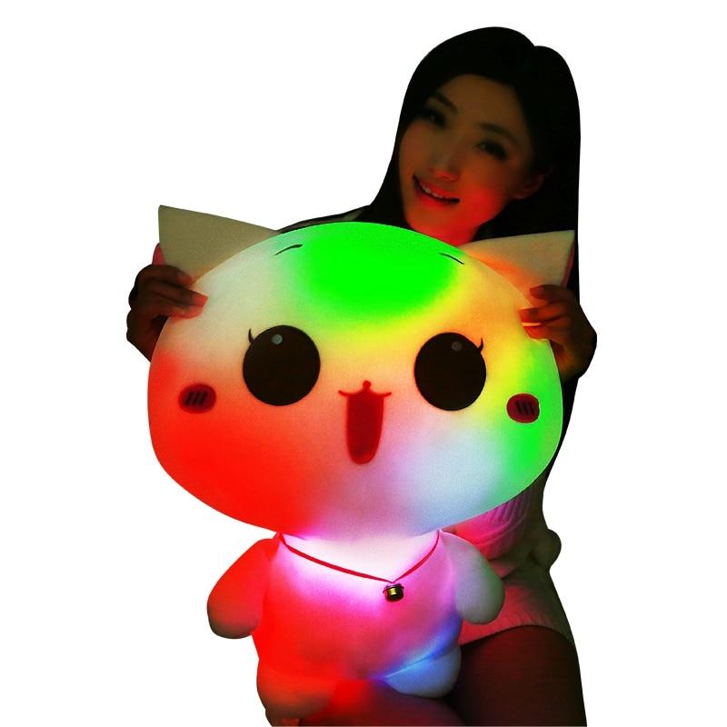 50cm LED Glowing Cat Plush Toy Big Size Flashing LED Light Cat Toy Luminous Cute Cat Doll Stuffed Kids Doll Baby Birthday 75cm led luminous glowing toy light up plush rabbit doll christmas new year birthday gift for kid girlfriend child wj447