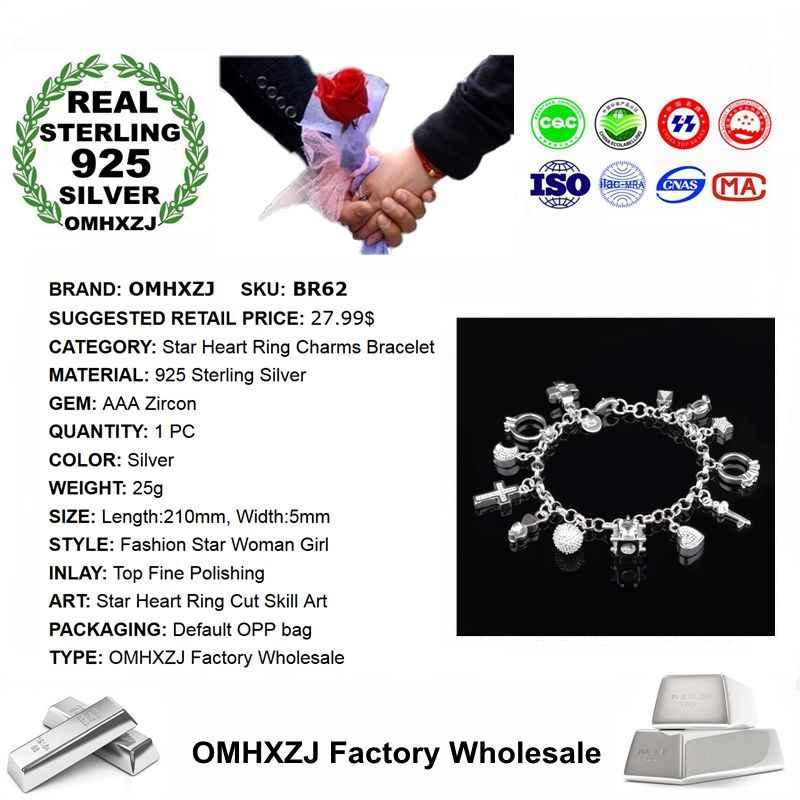 OMHXZJ ขายส่งบุคลิกภาพแฟชั่น OL ผู้หญิงสาวของขวัญ Silver Star แหวนหัวใจ Charm 925 สร้อยข้อมือเงินแท้ BR62