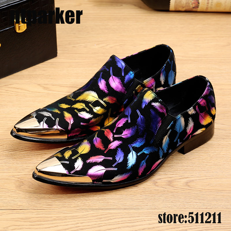 ntparker Italian Model Men Dress Shoes Leather Black with Colorful Flowers Oxford Shoes for Men Business and Party, Size 38-46