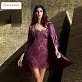 2016 новая коллекция весна лето элегантный женский шелковый атлас 2 шт. костюм сна халат наборы пижамы женщины ночная рубашка cc-s001