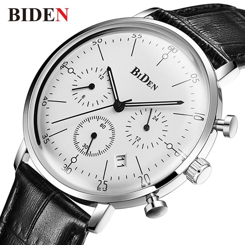 2018 Байден мужские часы лучший бренд класса люкс Бизнес спортивный хронограф кварц Man наручные часы кожаный мужской часы Водонепроницаемый