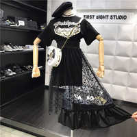 2 Pcs Women New Summer Dresses Novelty Ladies Cool Girls Print Dress Party Long Tees Ruffles Layer Young Casual Dresses NS567