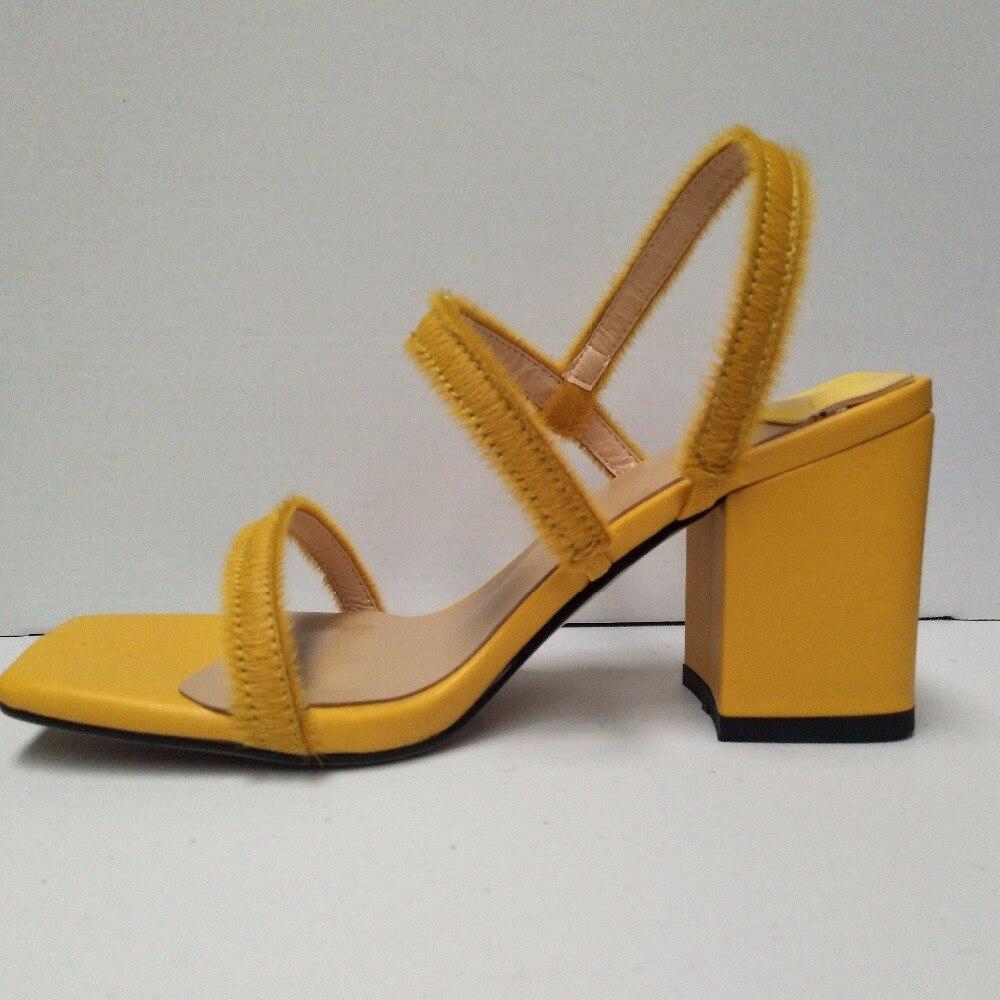 Alto 34 Grueso Tamaño De Mujer Nuevo Pelo Con Yellow Sandalias Tacón 45 Romano Caballo YzqY6xwP
