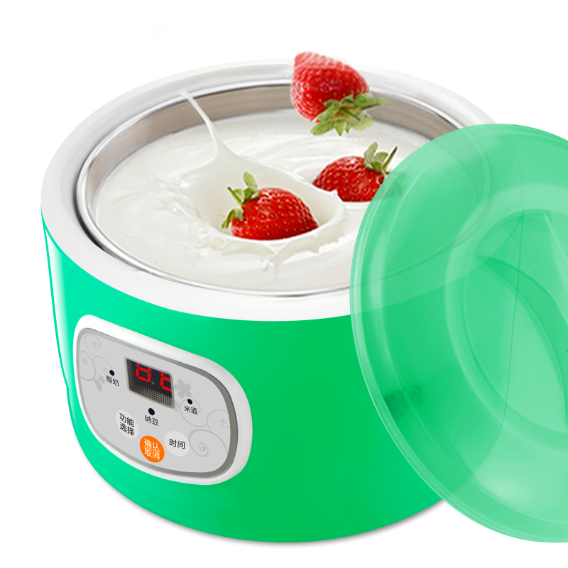 Household Yogurt Machine Fully Automatic Yogurt Rice Wine Natto Makers with Stainless Steel Sub-cup Liner Free with Powder purple yogurt makers rice wine natto machine household fully automatic yogurt glass sub cup liner multifunctional kitchen helper
