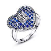 Women Heart Design Ring With AAA Blue Cubic Zircon Crystal Silver Ring Promise Engagement Rings Bridal