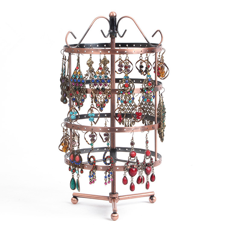 144 Hole Round Earrings Ear Studs Jewelry Display Rack Brown Metal Stand Organizer Holder Display Showcase Shelf Hot Selling wooden struction leather floor magazine book exhibition rack shelf organizer holder croco brown 230a