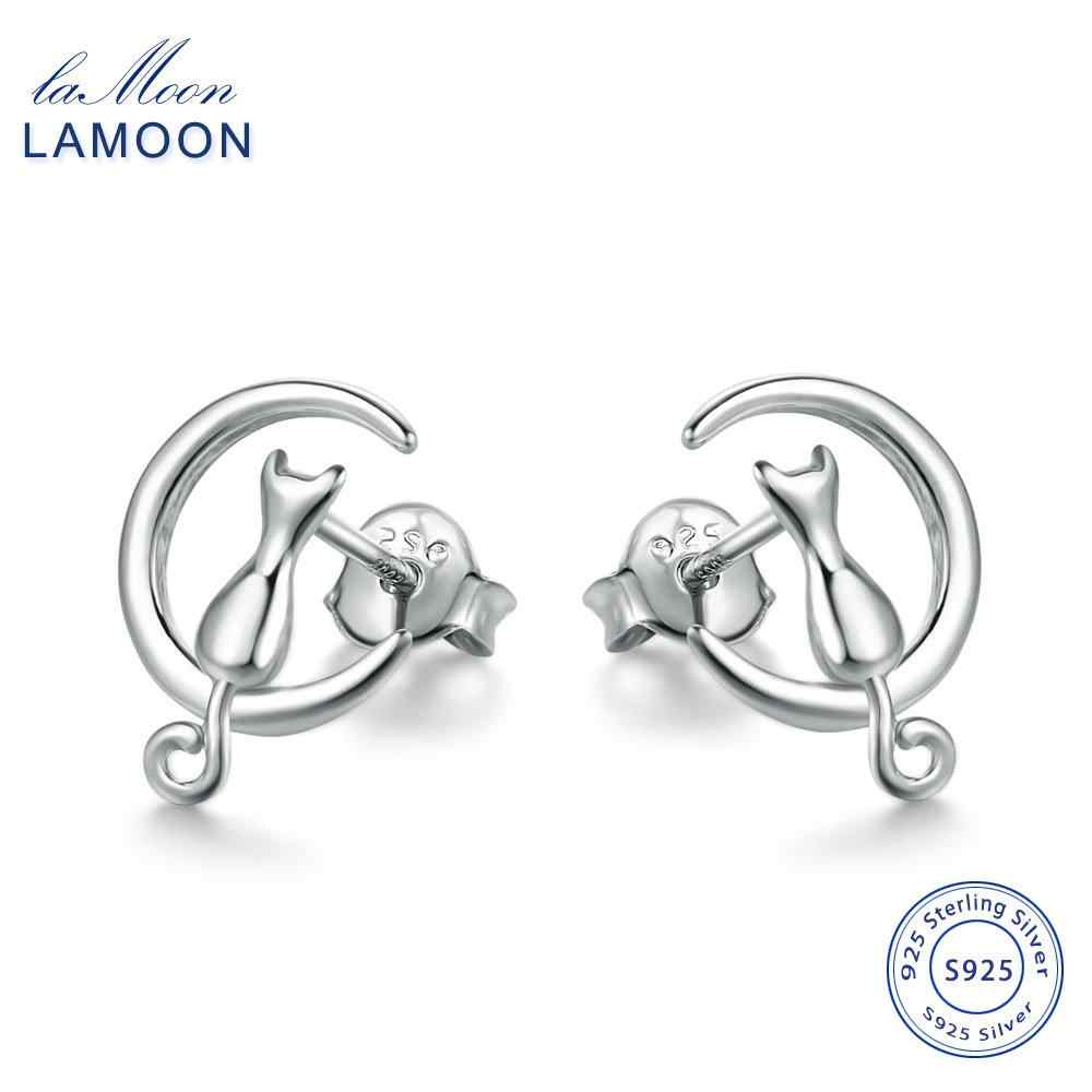 LAMOON High Polishing Moon & Cat Shaped 100% 925-Sterling-Silver Stud Earrings S925 Fine Jewelry For Women Girl Gift LMEY019