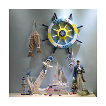 62CM Nautical Wooden Boat Rudder Mediterranean Style Shell Decorative hang adorn helmsman wood handmade Decor Crafts