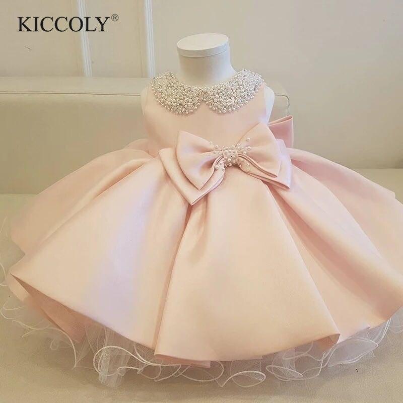 Infantile fille vêtements perles arc rose Tulle nouveau-né baptême robe bébé filles fête princesse baptême 1 an anniversaire tenues