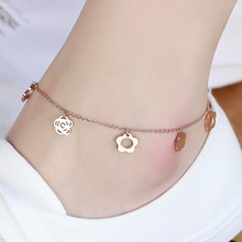 Top Quality 18KGP Rose Titanium Steel Camellia Flower Anklet Fashion Brand Women's Jewelry Free Shipping (GA013)