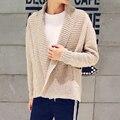Chinese style men's sweaters Autumn autumn leisure big turn down collar no button men cardigan coat slim coarse wool jacket