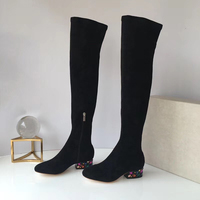 2018 autumn and winter the latest women's shoes over the knee boots women's leather rhinestones with a thick thin stretch fashio
