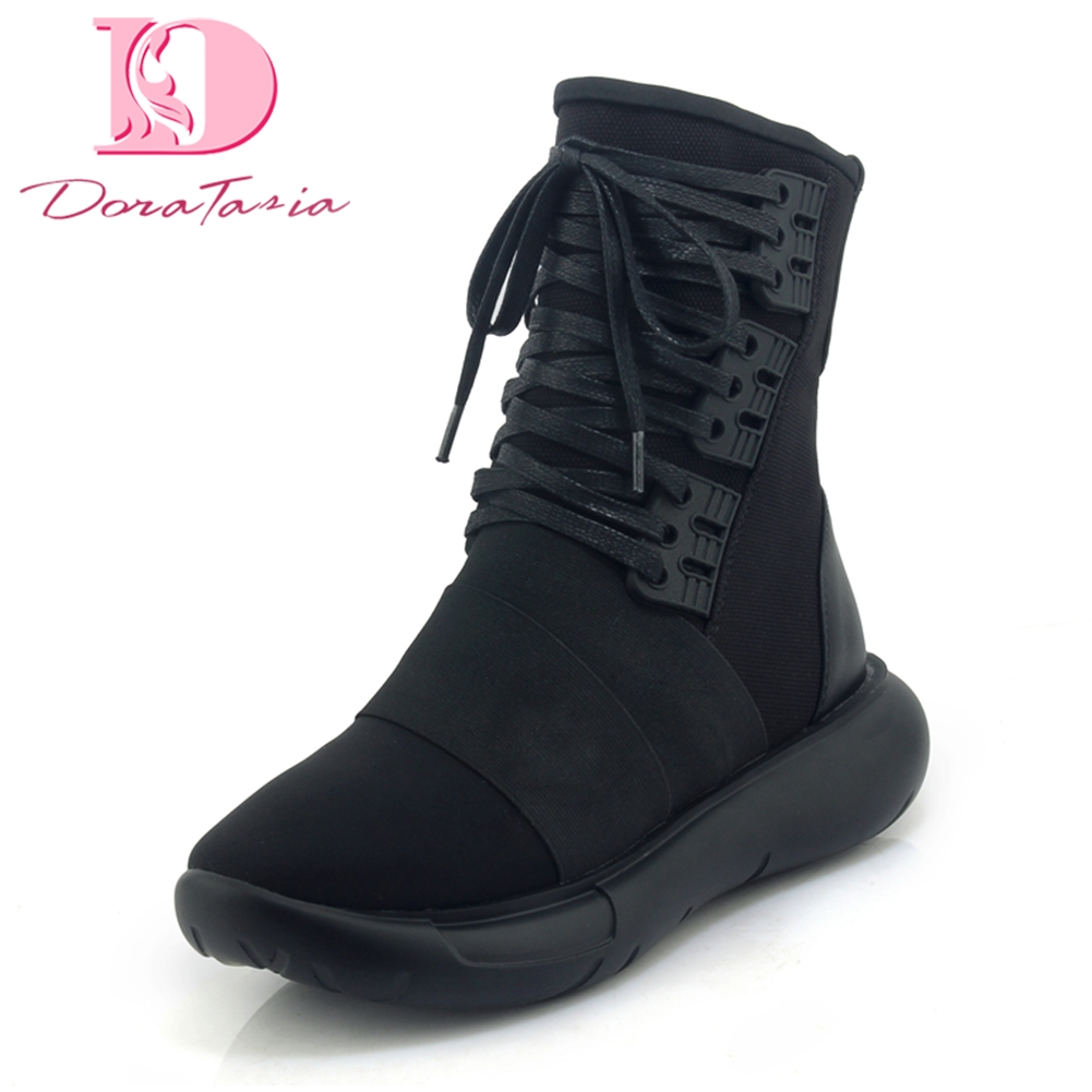 Doratasia 2018 Cow Leather Lace Up Black Hot Sale Add Fur Winter Boots Women Shoes Woman Flat Heel mid-calf Boots Woman цена