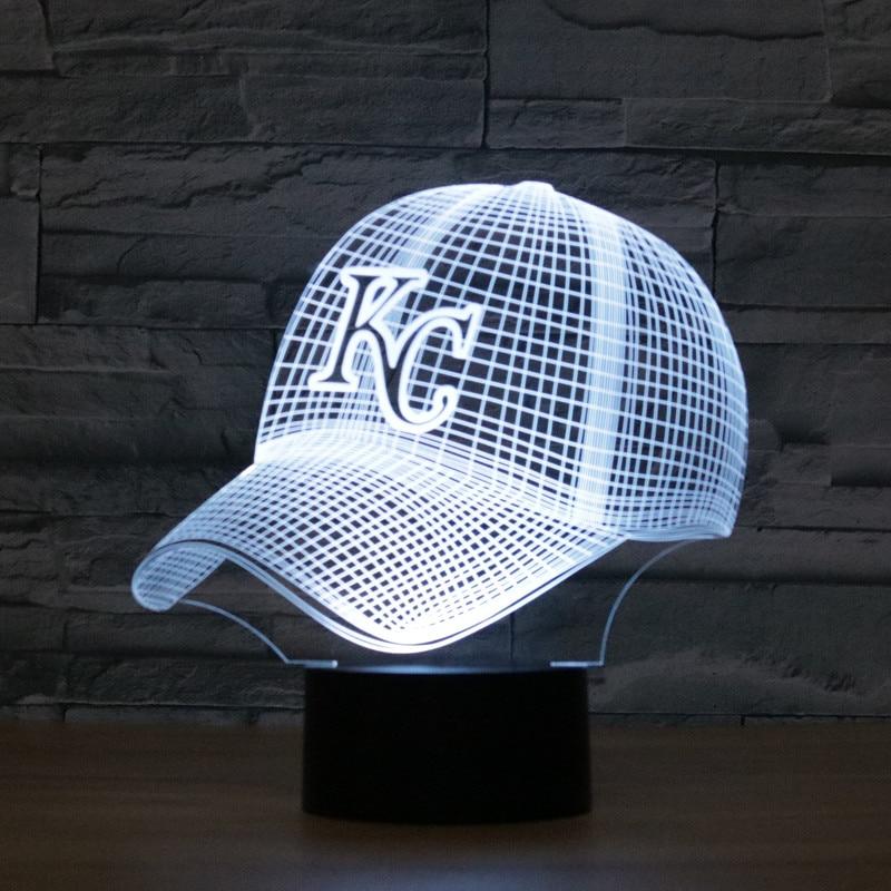 3D Lamp KC Baseball cap Royals Night Light Acrylic Flat Household Lights Color Changeable Veilleuses LED Lampara Infantil