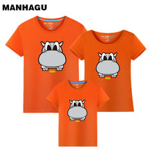 2017 Summer Family Matching Outfits Short Sleeve T-shirts Mother Father Baby Son Daughter Cute Clothes hippo Cotton Look