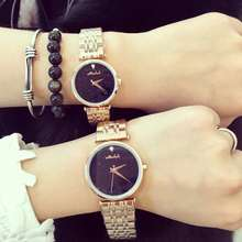Luxurious Model Girls Costume Watches Stainless Metal Quartz Watch Diamond Blue Sandstone Rose Gold Wristwatch Relogio Feminino OP001