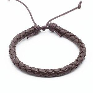 Image 3 - Groothandel 100 stks/partij Nieuwe Mode Wrap Handmde Touw Braid Weave Vrouwelijke Femme Homme Mannelijke PU Lederen Mannen Armband Voor Vrouwen sieraden