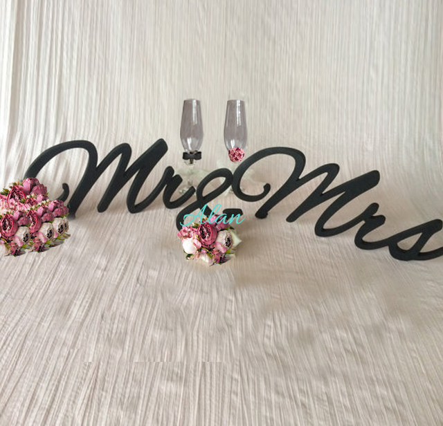 black Elegant script Mr & Mrs signs for head table at wedding ...