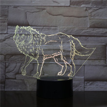 Wolf LED Night Light 3D Illusion 7 Color Changing Decorative Light Child Kids Boy Girl Gift Animals Desk Night Lamp Bedside
