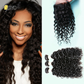 7A Brazillian Water Wave With Closure Brazilian Virgin Hair Lace Closure With Bundles Wet and Wavy Human Hair Weaves