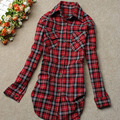 2017  Spring Autumn women  Fashion long Sleeve shirts Single Breasted Plaid  tops cotton blouse