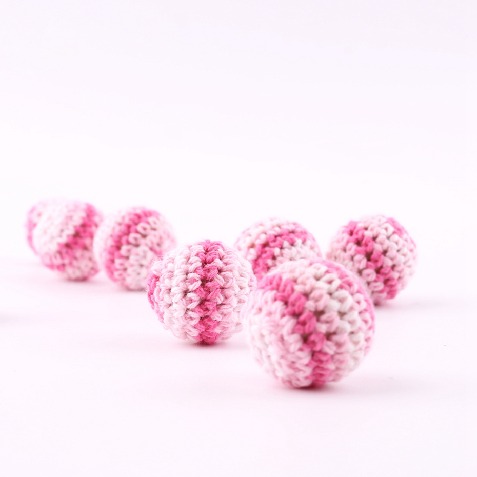 Toddler Teeth 5 PC Crochet Round Wooden Beads Crochet 20mm Grasping Wood Bead DIY Jewelry Accessories Teething Crochet Beads