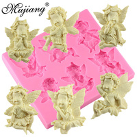 Six Cute Angel Baby Silicone Mold 3D Chocolate Candy Molds Cake Ornament MoldDIY Handmade Soap Mould