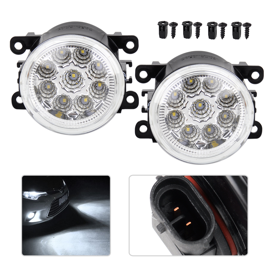 beler 1Pair 9 LED Front Fog Lamps DRL Daytime Running Driving Lights for Infiniti G37 2010 Nissan Altima Maxima Versa 2012-2014 led front fog lights for opel astra g saloon f69  1998 09 2009 car styling round bumper drl daytime running driving fog lamps