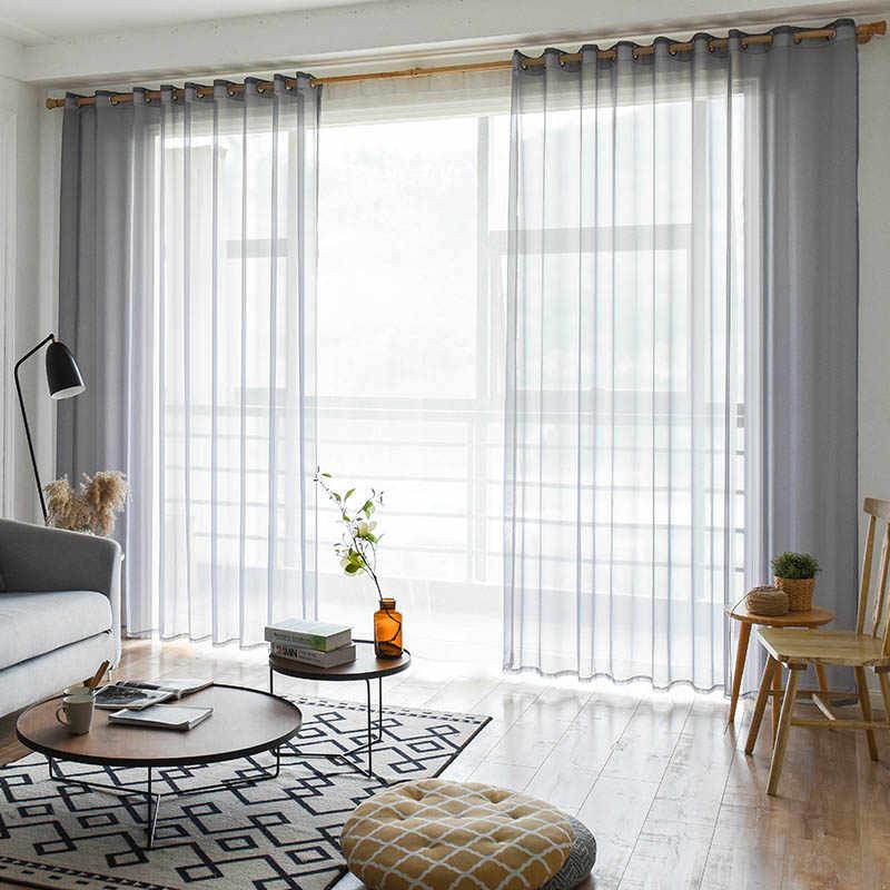 BHD Solido Tulle Sheer Tende Della Finestra per soggiorno Camera Da Letto Moderna Tulle Organza Tende Tende In Tessuto Tende per la Cucina