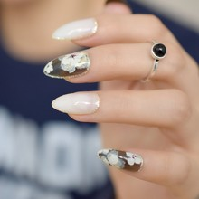 White Jade False Nails Stiletto Nails Flower Stamp Clear Black Silver Glitter Decor Sharp Pointed Full Fake Nails Wear Nail Tips(China)