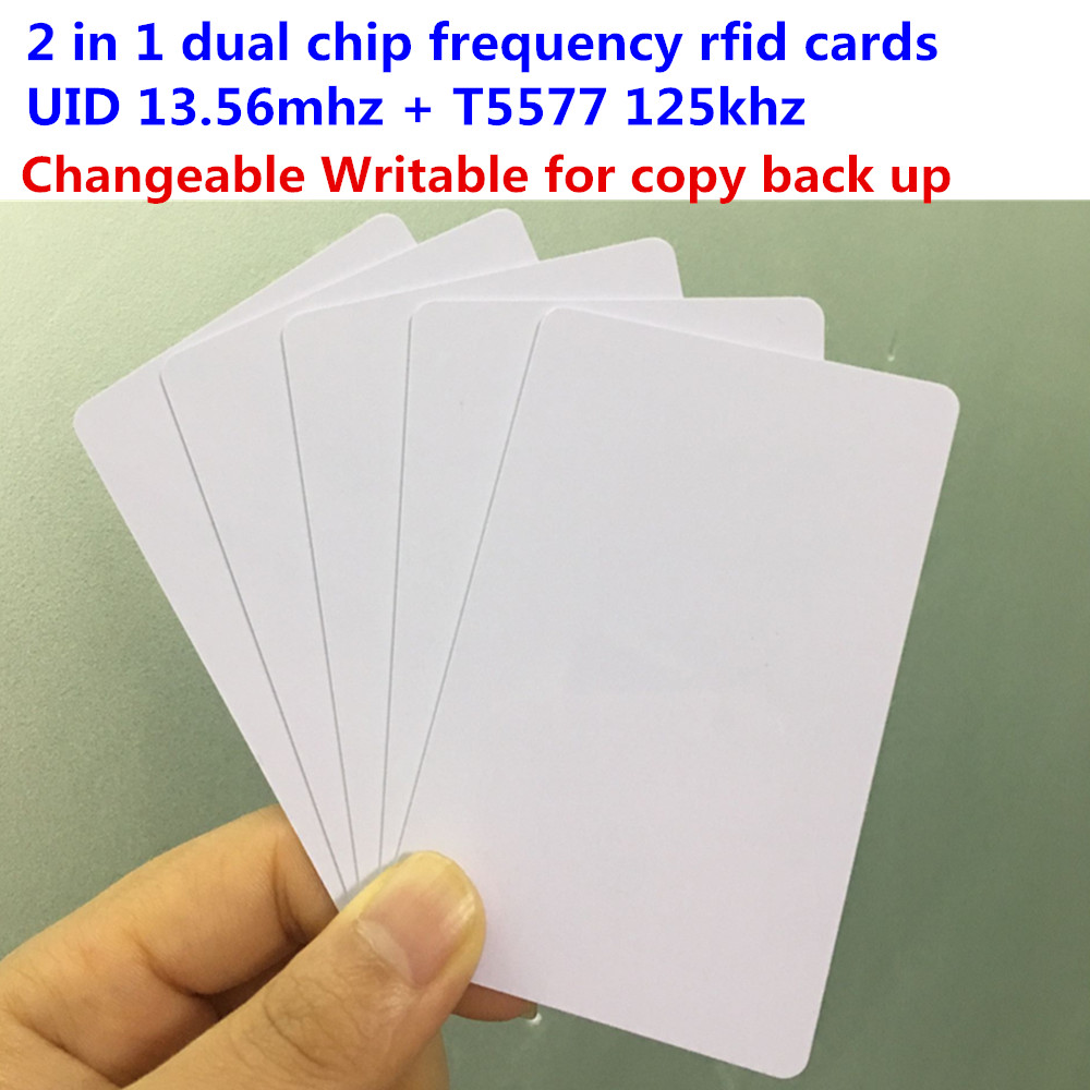 Dual chip frequency rfid 13.56mhz UID changeable MF1 1K and rfid 125khz T5577 Rewritable ID / IC Card for copy clone backup 5pcs ic id uid 13 56mhz changeable writable rewritable composite key tags keyfob dual chip frequency rfid 125khz t5577 em4305