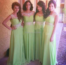 Chiffon Sheer Neck Beaded Aqua Color Bridesmaid Dresses Party Gowns Long Amazing Special Occasion Dress for Wedding Prom 2016