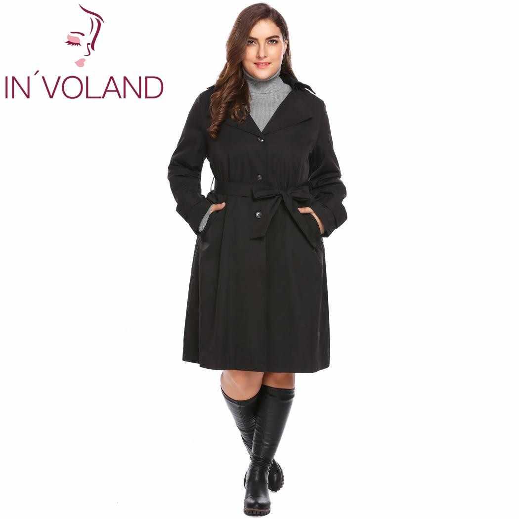 59094a0c97 Gabardina de mujer de talla grande en voland L-4XL otoño invierno con  capucha de