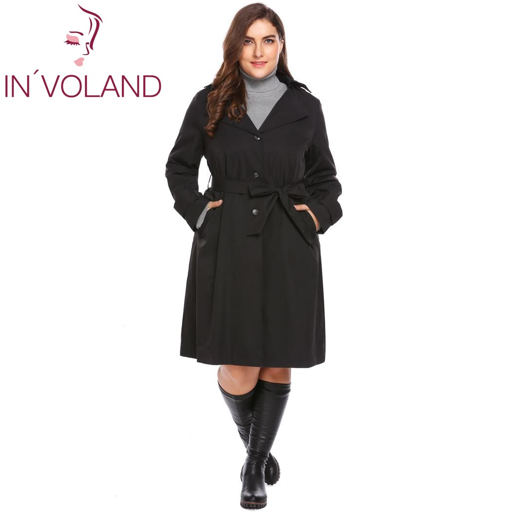 IN'VOLAND Plus Size Women Trench Coat L-4XL Autumn Winter Hooded Long Sleeve Solid Single Breasted Large Overcoat Big Size