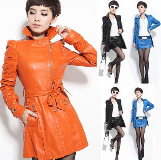 new plus size turn-down collar coat suit long-sleeve motorcycle PU trench outerwear long woman   leather   jacket