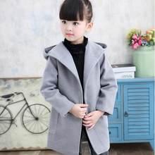 0cf3aacd1d5 2018 Весна-осень маленьких девочек Твердые длинным Шерстяное пальто Детская  шерстяная куртка твидовое пальто Детская верхняя оде.