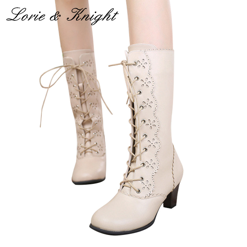 High End Japanese Style Sweet Ruffle Trim Lace Up Bow Princess Boots Lolita Cosplay Boots
