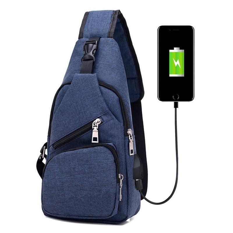 Men Canvas Chest Bag USB Charging Anti Theft Crossbody Sling Shoulder Pack Large Capacity Short Trip Messengers Bag slim fit design mega storage capacity holster shape chest bag for men armpit oxter sling bag