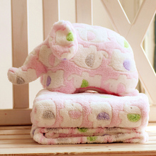 Baby's Printing Elephant Blankets newborn Coral fleece  Pillowcase & Blanket 2 Piece Set Baby Cushion Cartoon Doll Toys