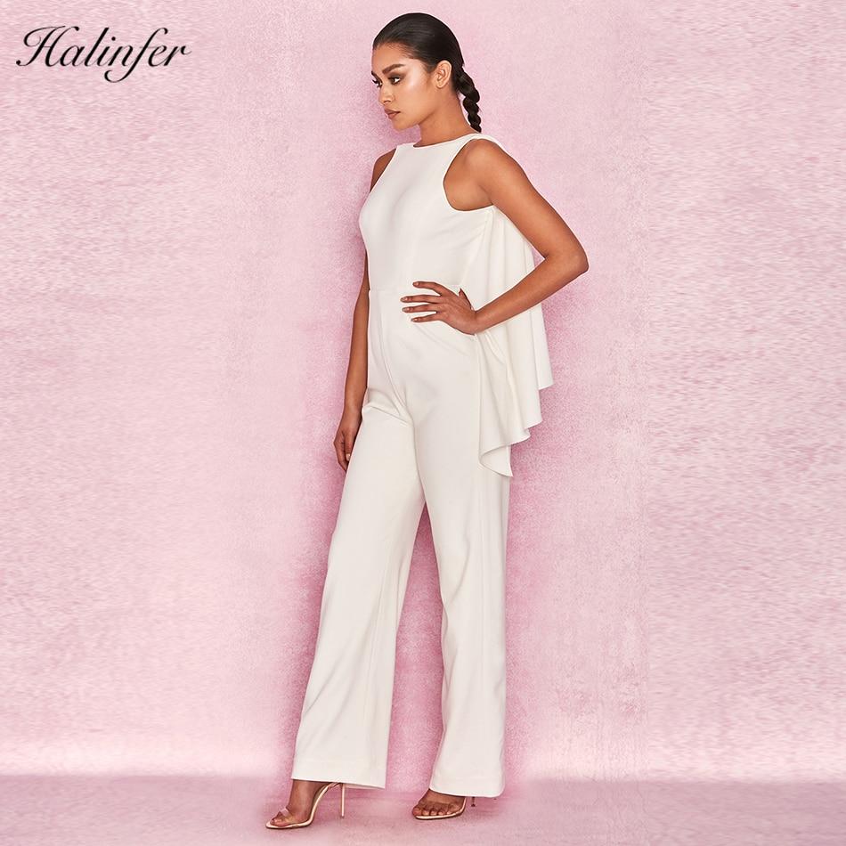 Femmes Moulante D'été O Combinaisons Robes Élégant Sexy En Cou Halinfer Party Gros Celebrity 2018 Blanc Salopette Nouvelle nIYEwqpt0