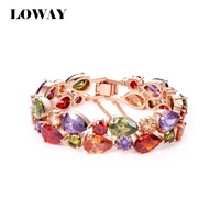 LOWAY Charm Bracelet 18K Gold Plated Pulseras AAA Swiss Mona Lisa Jewelry Bracelets For Women SZ3826