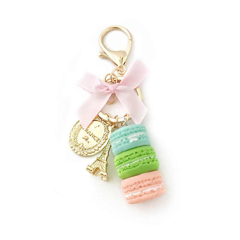 Bolo novo Mulheres bolsa charme acessórios de moda do Anel Chave do carro chaveiro France Macarons Bolo com Torre Eiffel Keychain presente jóias