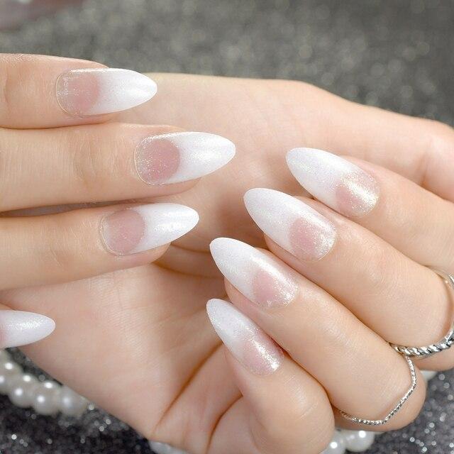 Shimmer Glitter French Nails White Sharp Medium Full