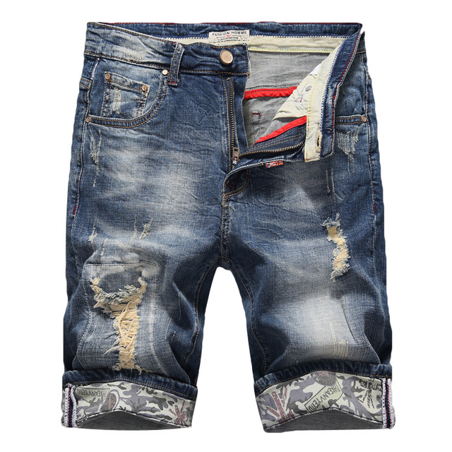 Jeans Shorts Men Ripped Slim Fit Denim Shorts Stretch Elastic Male Distressed Summer Luxury Brand Short 2019 New Plus Size
