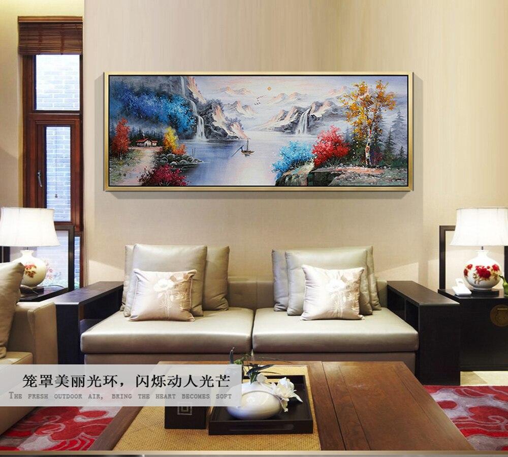 Chinesische landschaft original handgemalte hochwertige moderne landschaft malerei winter see landschaft malerei für die lobby sofa - 3